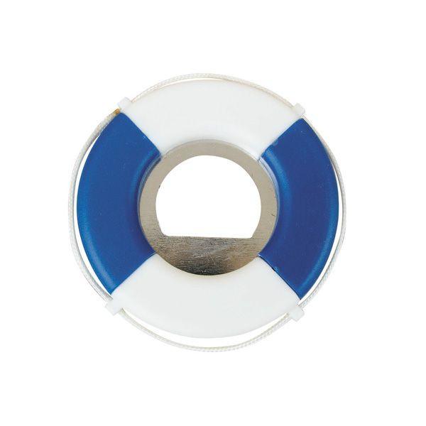 Flaschenöffner - Rettungsring, blau/weiß, Kunststoff/Eisen, Ø: 7cm