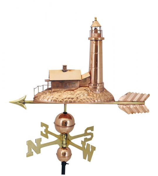 Wetterfahne - Leuchtturm, Kupfer/Messing, 40x40/70cm