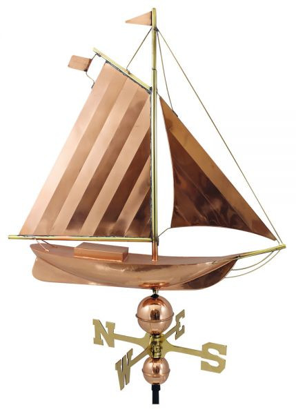 Wetterfahne - Segelboot, Kupfer/Messing, L: 75cm, H: 78/104cm