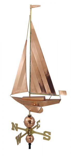 Wetterfahne - Segelyacht, Kupfer/Messing, L: 54cm, H: 95/122cm