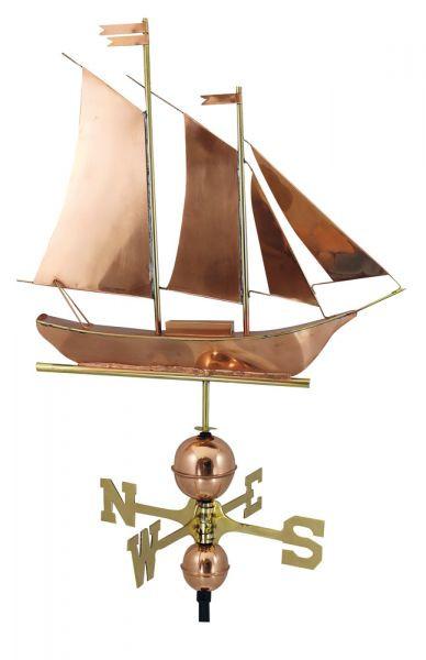 Wetterfahne - Segelschiff, Kupfer/Messing, L: 60cm, H: 56/103cm