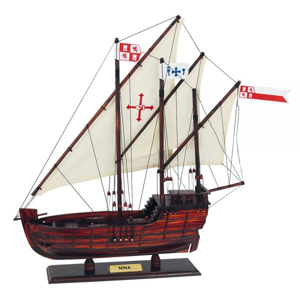 Karavelle - Nina, Holz mit Stoffsegel, L: 40cm, H: 43cm