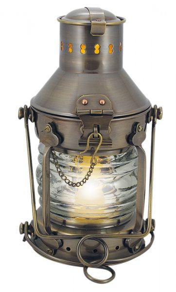 Ankerlampe, Messing antik, elektrisch 230V, E14, 25W, H: 24cm, Ø: 12cm