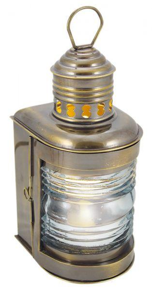 Mastlampe, Messing antik, elektrisch 230V, E14, 25W, H: 23cm