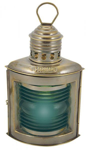 Steuerbordlampe, Messing antik, elektrisch 230V, E14, 25W, H: 23cm