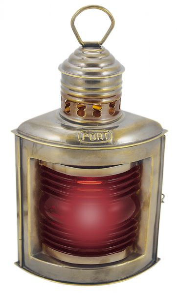 Backbordlampe, Messing antik, elektrisch 230V, E14, 25W, H: 23cm