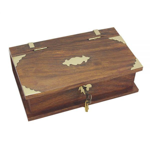 Buch-Box mit eingebautem Schloss, Holz/Messing, 21x13,5x6cm