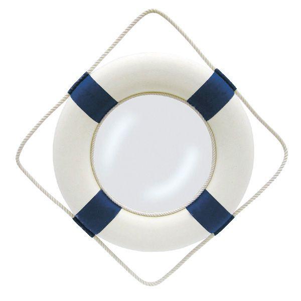 Spiegel - Rettungsring, blau/weiß, Styropor mit Stoff, Ø: 50cm