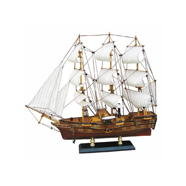 Fregatten-Raddampfer, Holz mit Stoffsegel, L: 49cm, H: 43cm