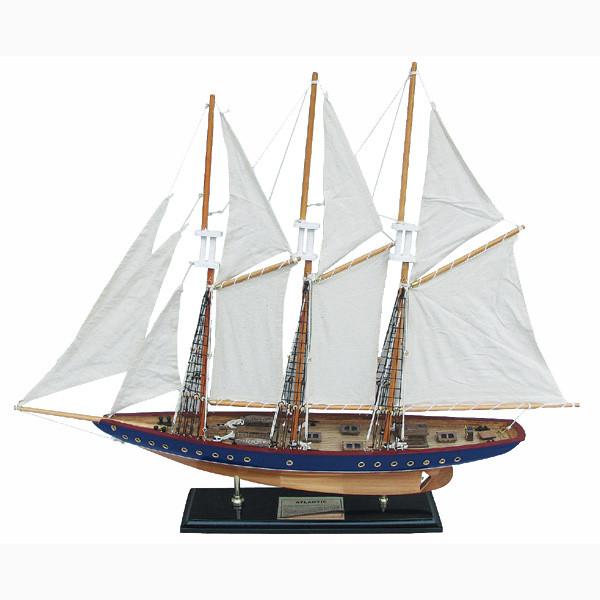 Segelschiff, Holz mit Stoffsegel, mit Messing-Schild, L: 71cm, H: 56cm