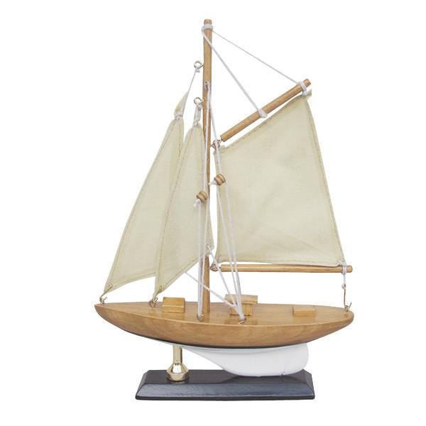 Segel-Yacht, Holz mit Stoffsegel, L: 15cm, H: 22,5cm