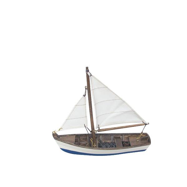 Fischerboot, Holz mit Stoffsegel, L: 16cm, H: 14,5cm