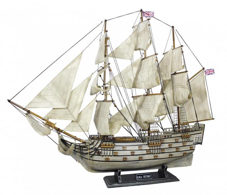 Schiffsmodell - H.M.S.Victory, Holz mit Stoffsegel, auf alt gemacht, L: 86cm, H: 74cm