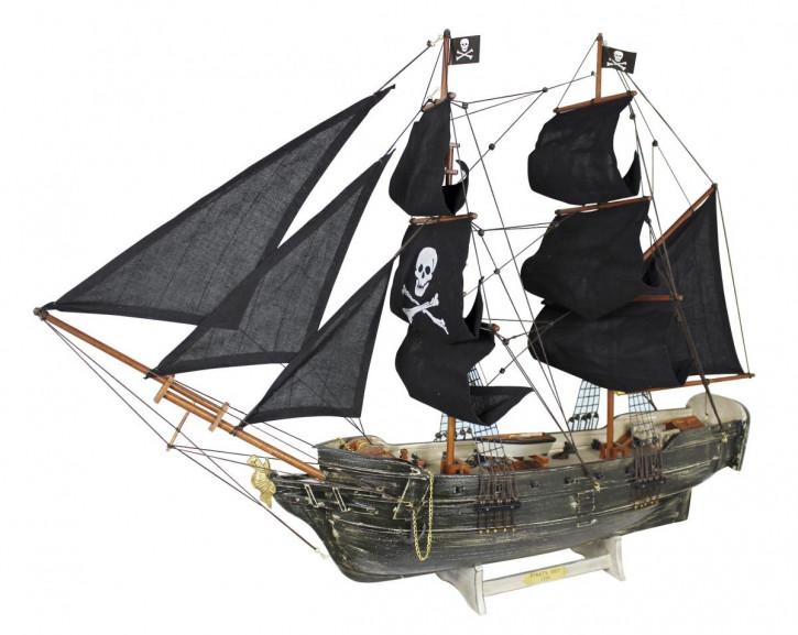 Piratenschiff, Holz mit Stoffsegel, auf alt gemacht, L: 78cm, H: 60cm