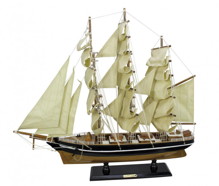 Segelschiff - Cutty Sark, Holz mit Stoffsegel, L: 55cm, H: 50cm