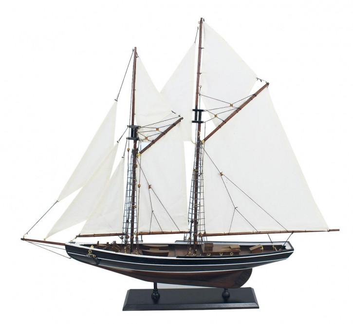 Segel-Yacht - Bluenose, Holz mit Stoffsegel, L: 74cm, H: 66cm