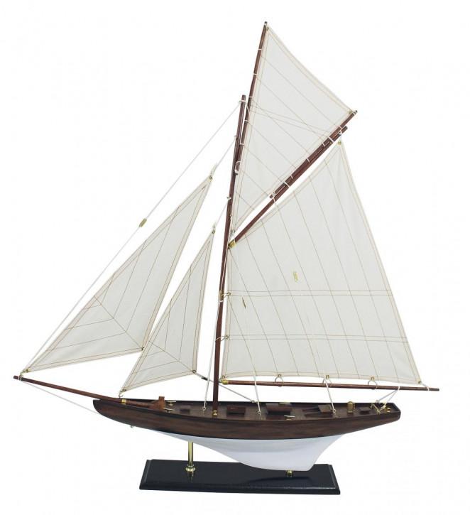 Segelyacht, Holz mit Stoffsegel, L: 70cm, H: 72,5cm