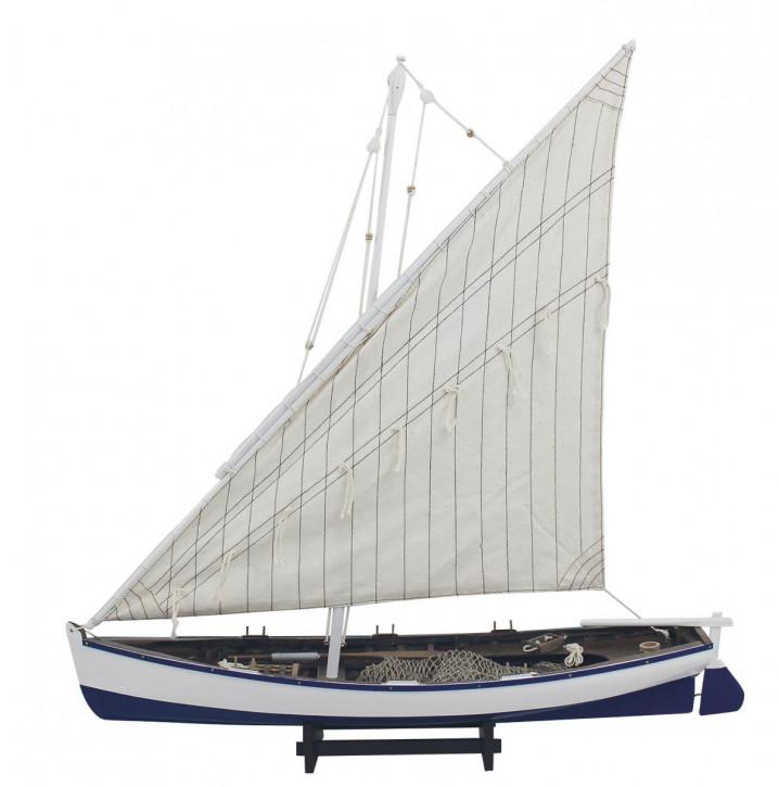 Fischerboot, Holz mit Stoffsegel, L: 60cm, H: 62cm