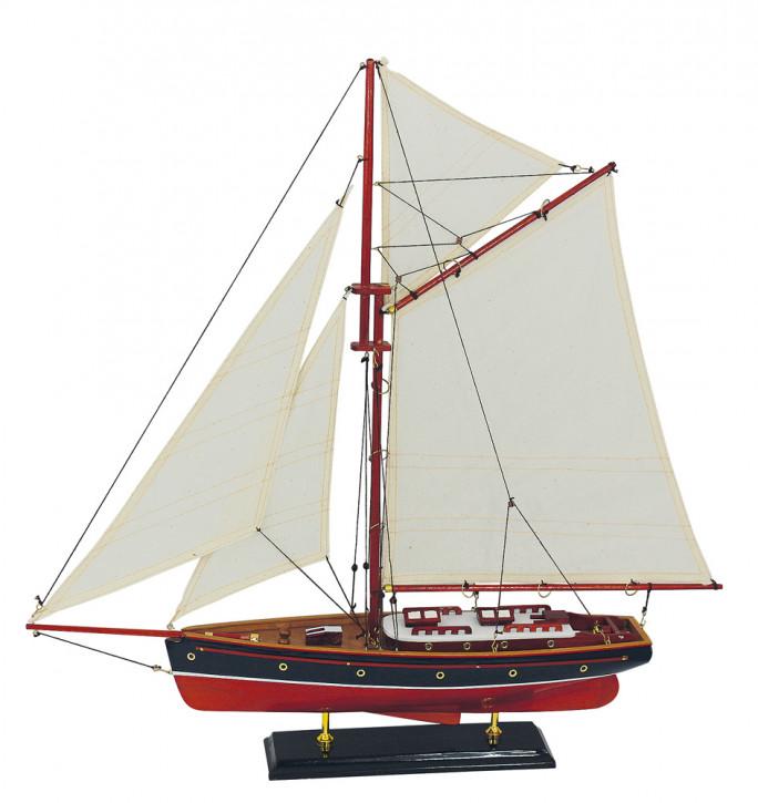 Segel-Yacht, Holz mit Stoffsegel, L: 58cm, H: 59cm
