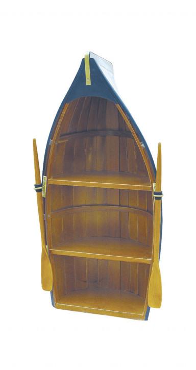 Boot-Regal, Holz, teilweise bemalt, 3 Fächer, H: 60cm, B: 30cm, T: 18cm