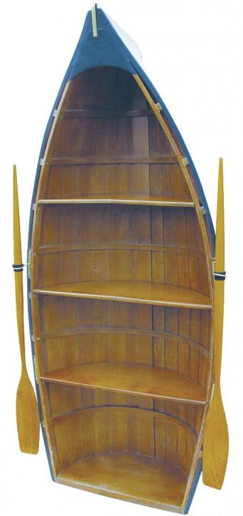 Boot-Regal, Holz, teilweise bemalt, 4 Fächer, H: 135cm, B: 56cm, T: 30cm