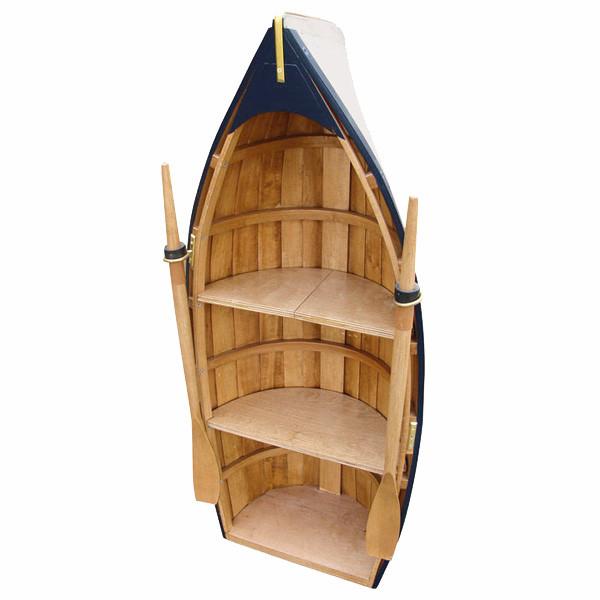 Boot-Regal, Holz, teilweise bemalt, 3 Fächer, H: 90cm, B: 39cm, T: 22cm