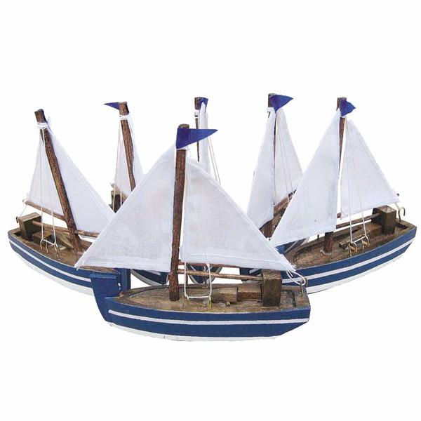 Segelboote, Holz mit Stoffsegel, L: 10cm, Set/6