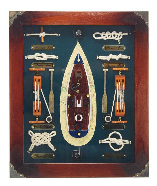 Knotentafel hinter Glas, Holz, 32x38cm - Knotennamen in ENGLISCH
