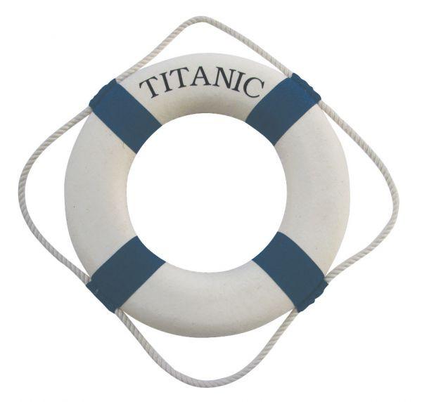 Rettungsring, blau/weiß, Styropor/Stoff, Ø: 30cm, mit TITANIC-Aufdruck einseitig