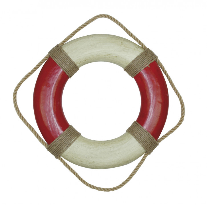 Rettungsring, rot/creme, Styropor bemalt, Ø: 36cm