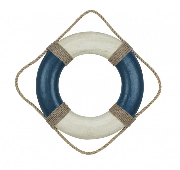 Rettungsring, blau/creme, Styropor bemalt, Ø: 36cm