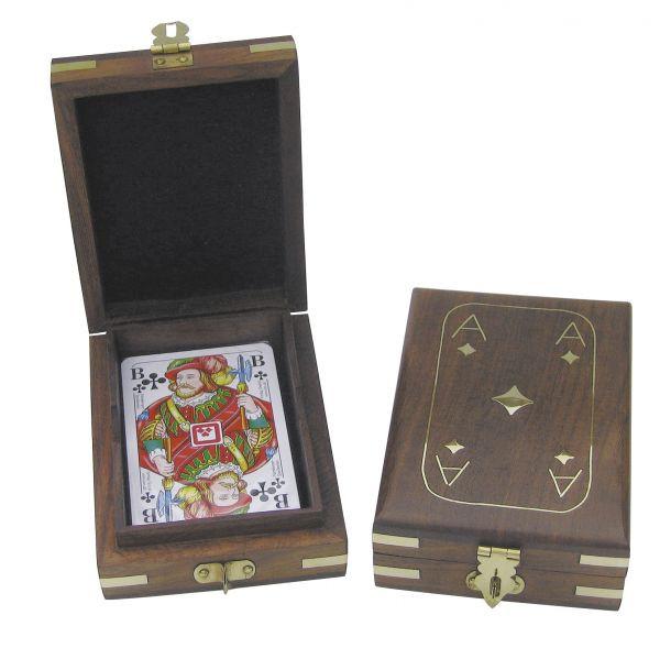 Spielkartenbox, Holz, inklusive Kartenspiel, 11,5x9x3,7cm