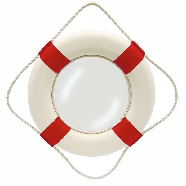 Spiegel - Rettungsring, rot/weiß, Styropor mit Stoff, Ø: 50cm