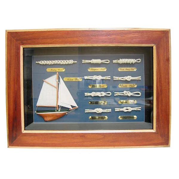 Knotentafel hinter Glas, Holz, 36x26cm - Knotennamen in ENGLISCH