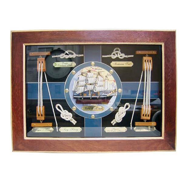 Knotentafel hinter Glas, Holz, 38x28cm - Knotennamen in ENGLISCH
