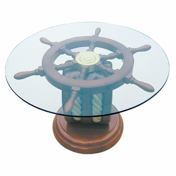 Steuerradtisch - Block, Holz mit Glasplatte, H: 41cm, Ø: 65cm