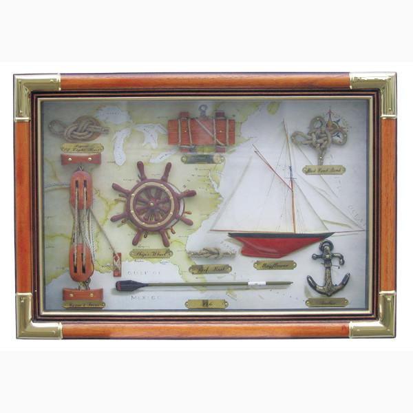 Knotentafel hinter Glas, Holz/Messing, 47,5x33cm - Knotennamen in ENGLISCH