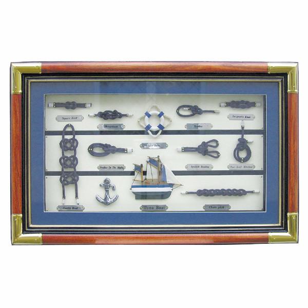Knotentafel hinter Glas, Holz/Messing, 55x35cm - Knotennamen in ENGLISCH