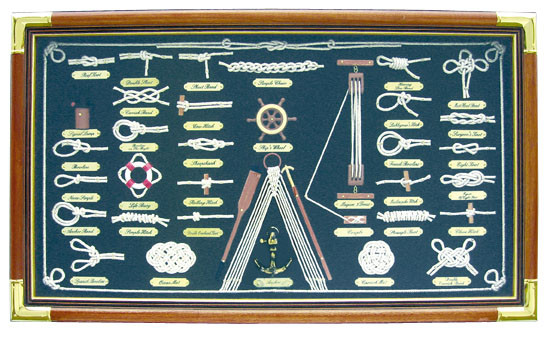 Knotentafel hinter Glas, Holz/Messing, 73x43cm - Knotennamen in FRANZÖSISCH
