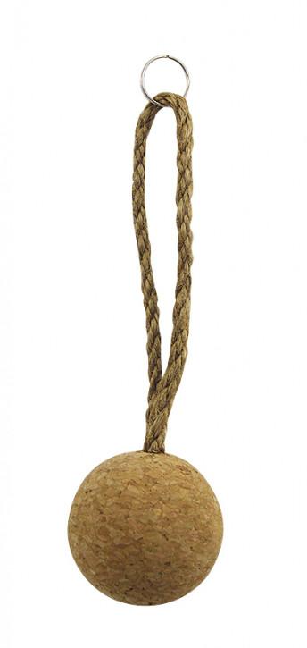 Schlüsselanhänger - Korkball mit Seil, L: 16cm, Ø: 5cm