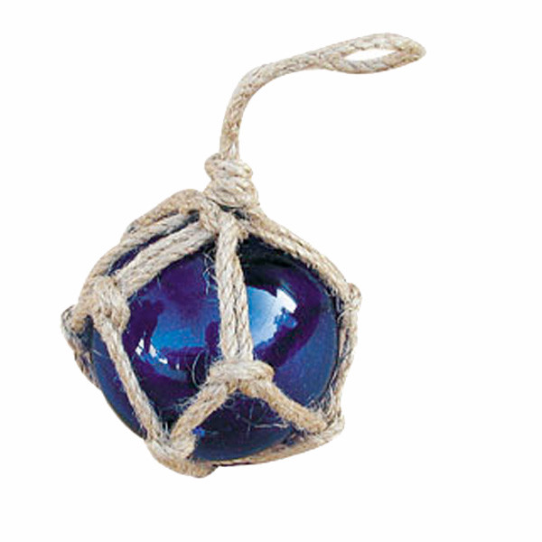 Fischer-Kugel, blau, Glas mit Netz, Ø: 5cm