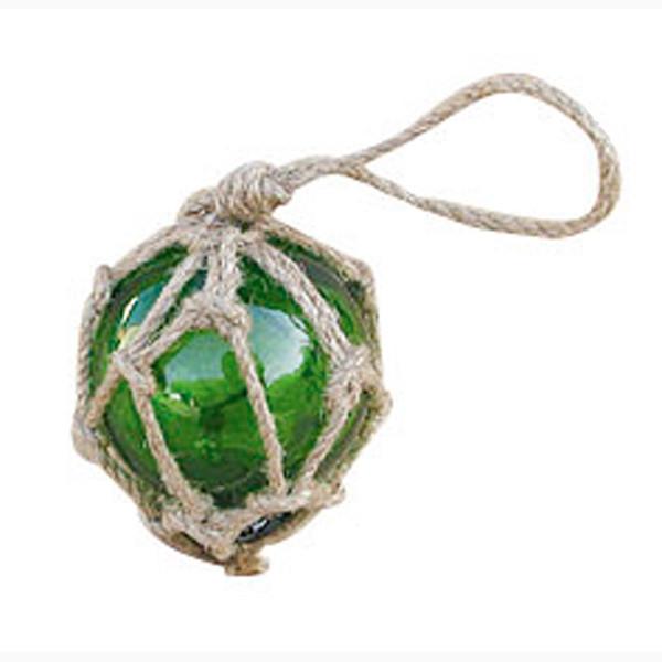 Fischer-Kugel, grün, Glas mit Netz, Ø: 5cm