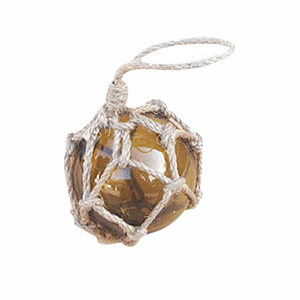 Fischer-Kugel, amber, Glas mit Netz, Ø: 5cm