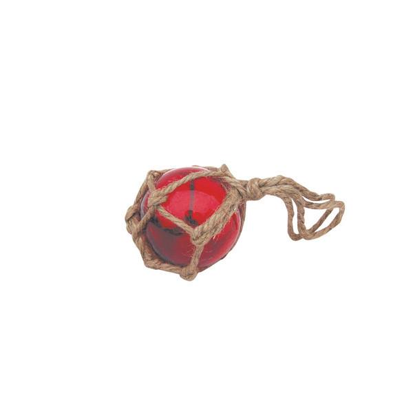 Fischer-Kugel, rot, Glas mit Netz, Ø: 5cm