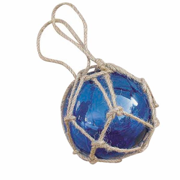 Fischer-Kugel, blau, Glas mit Netz, Ø: 7,5cm