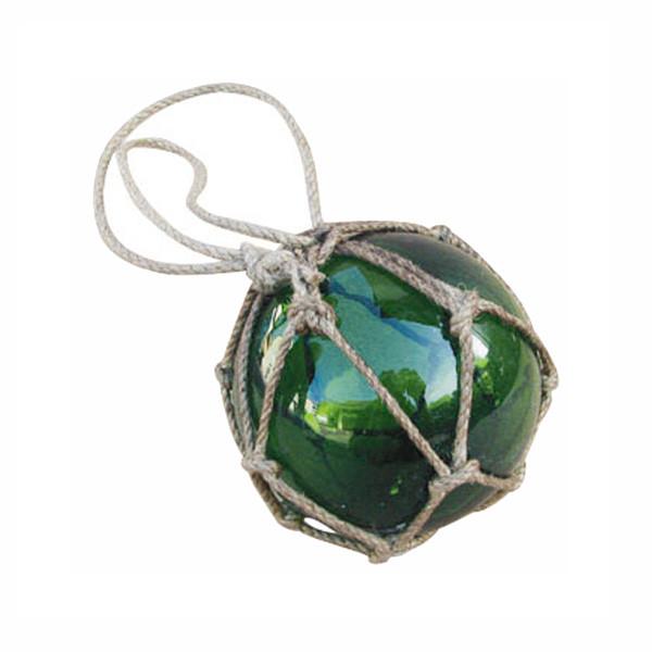 Fischer-Kugel, grün, Glas mit Netz, Ø: 7,5cm