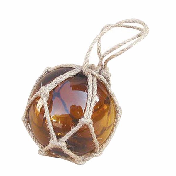 Fischer-Kugel, amber, Glas mit Netz, Ø: 7,5cm