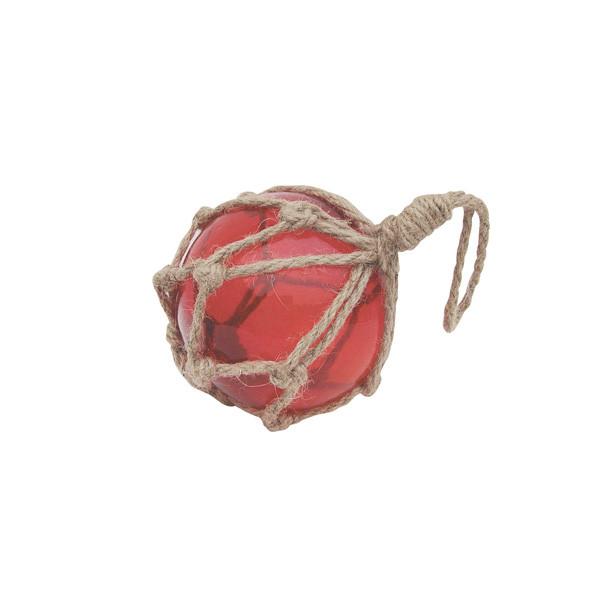 Fischer-Kugel, rot, Glas mit Netz, Ø: 7,5cm