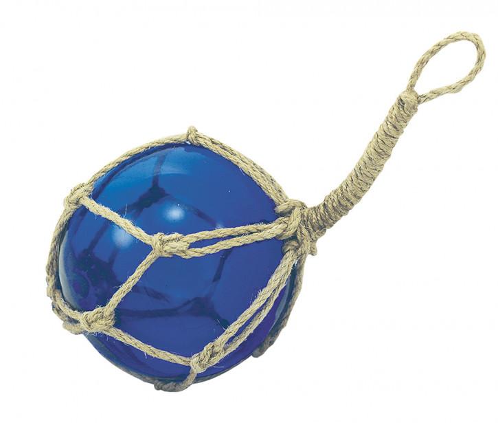 Fischer-Kugel, blau, Glas mit Netz, Ø: 10cm
