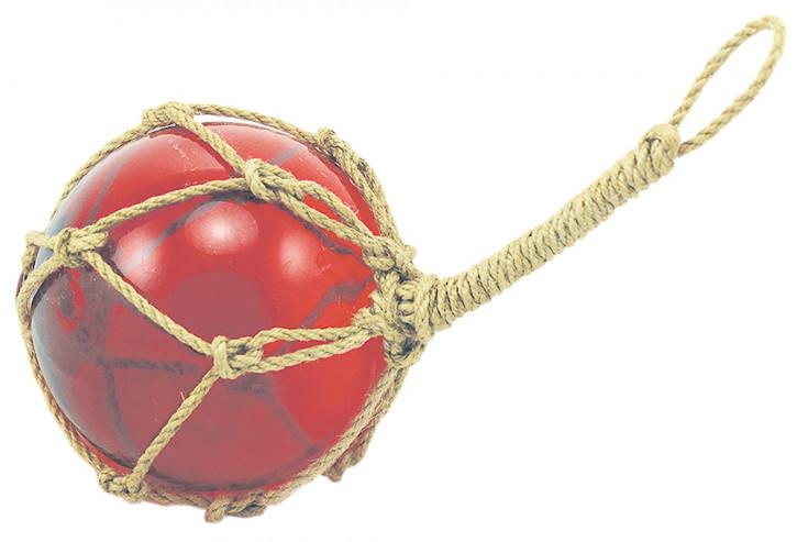 Fischer-Kugel, rot, Glas mit Netz, Ø: 10cm